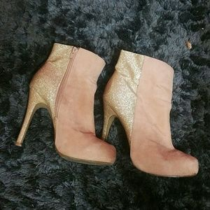 Shoes - Sparkly Pink and Gold Suede Ankle Boots